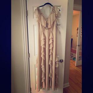 NWT Aidan Mattox Long blush beaded gown size 6